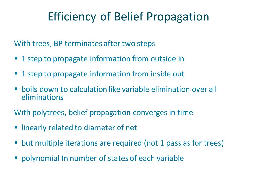 Efficiency of Belief Propagation With trees, BP terminates after two steps  1 step to propagate information from outside in  1 step to propagate information from inside out  boils down to calculation like variable elimination over all eliminations With polytrees, belief propagation converges in time  linearly related to diameter of net  but multiple iterations are required (not 1 pass as for trees)  polynomial In number of states of each variable