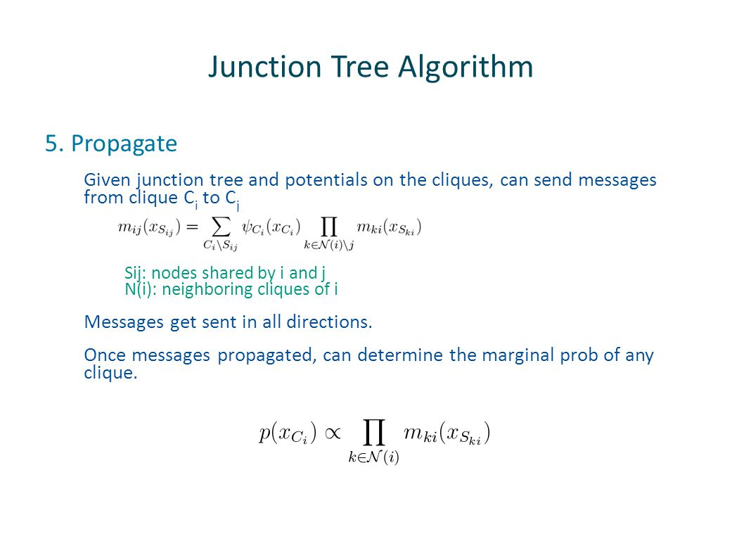 Junction Tree Algorithm 5. Propagate Given junction tree and potentials on the cliques, can send messages from clique C i to C j Sij: nodes shared by