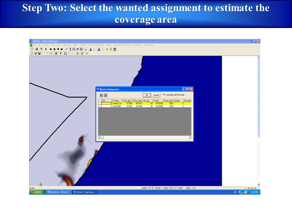Step Two: Select the wanted assignment to estimate the coverage area
