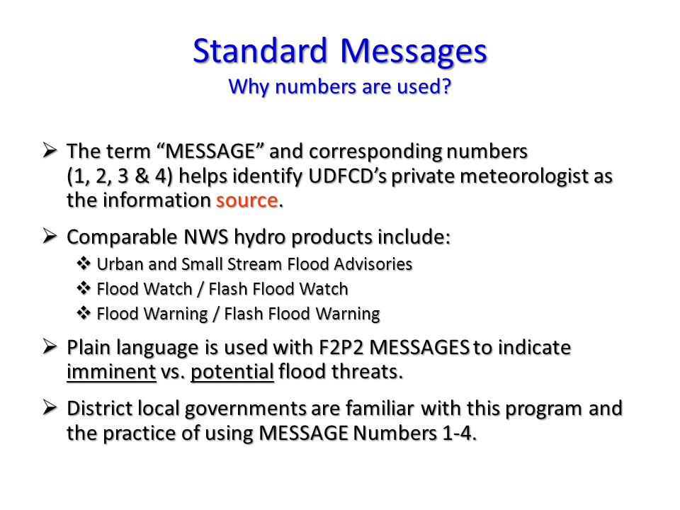 Standard Messages Why numbers are used.