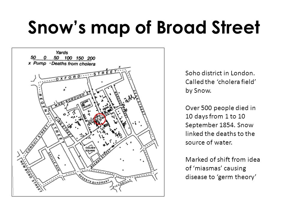 Snow's map of Broad Street Soho district in London. Called the 'cholera field' by Snow. Over 500 people died in 10 days from 1 to 10 September 1854. S