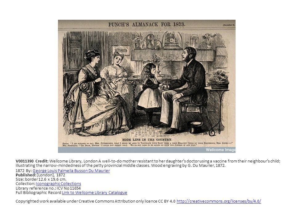 V0011390 Credit: Wellcome Library, London A well-to-do mother resistant to her daughter's doctor using a vaccine from their neighbour's child; illustr