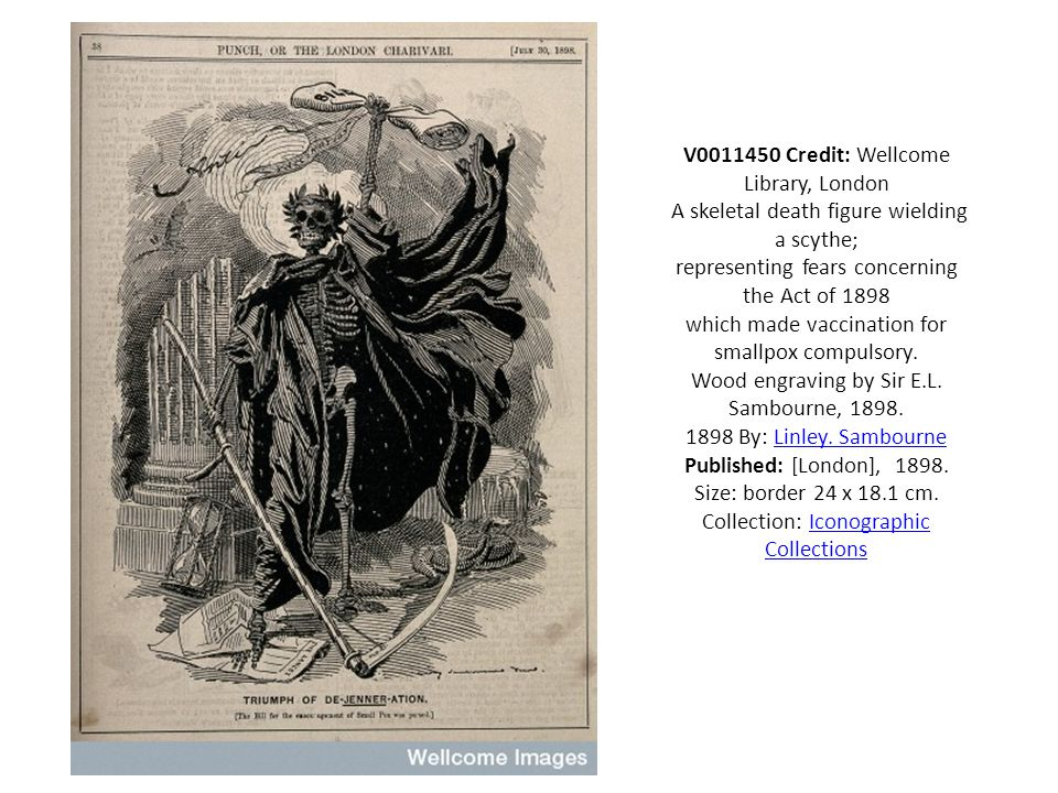 V0011450 Credit: Wellcome Library, London A skeletal death figure wielding a scythe; representing fears concerning the Act of 1898 which made vaccination for smallpox compulsory.