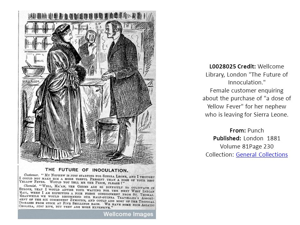L0028025 Credit: Wellcome Library, London The Future of Innoculation. Female customer enquiring about the purchase of a dose of Yellow Fever for her nephew who is leaving for Sierra Leone.
