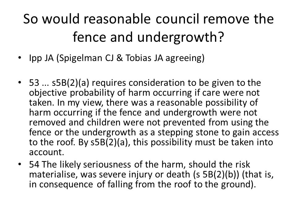 So would reasonable council remove the fence and undergrowth? Ipp JA (Spigelman CJ & Tobias JA agreeing) 53... s5B(2)(a) requires consideration to be