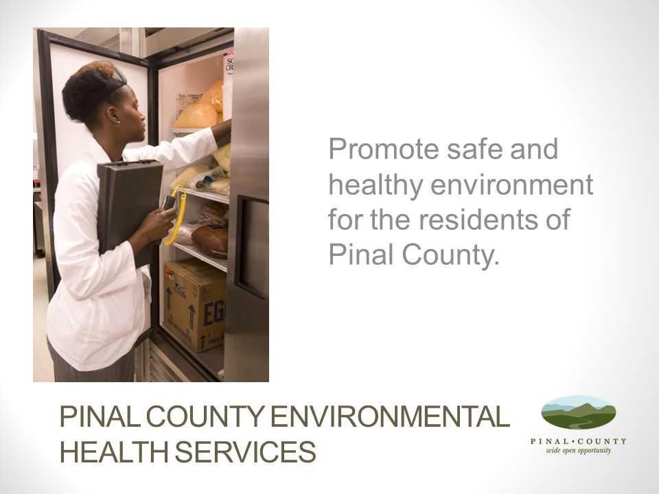 PINAL COUNTY ENVIRONMENTAL HEALTH SERVICES Promote safe and healthy environment for the residents of Pinal County.