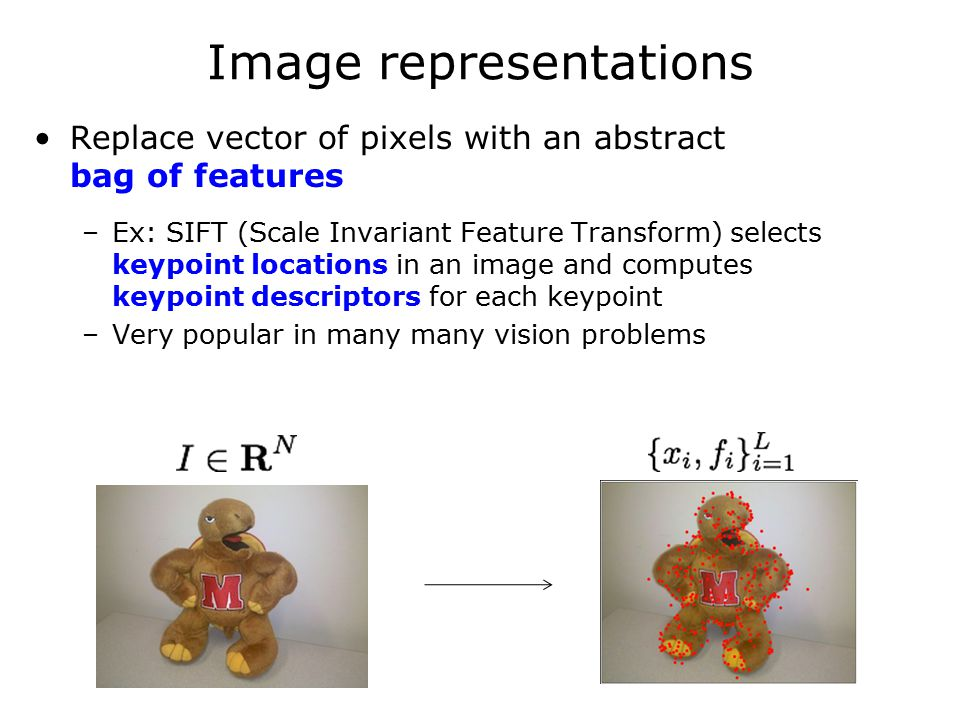 Image representations Replace vector of pixels with an abstract bag of features –Ex: SIFT (Scale Invariant Feature Transform) selects keypoint locations in an image and computes keypoint descriptors for each keypoint –Very popular in many many vision problems