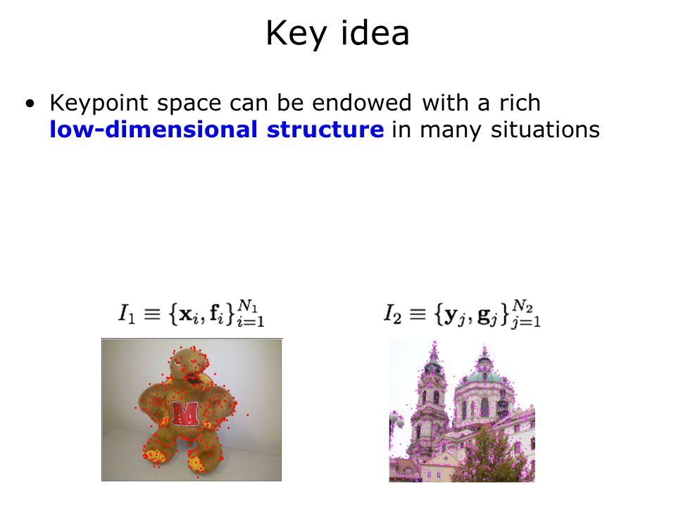 Key idea Keypoint space can be endowed with a rich low-dimensional structure in many situations