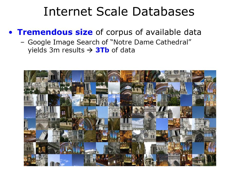 Internet Scale Databases Tremendous size of corpus of available data –Google Image Search of Notre Dame Cathedral yields 3m results  3Tb of data