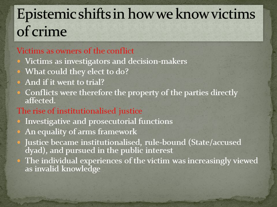 Structural/institutional EU The Victims Charter The Commission for the Support of Victims of Crime/Victims of Crime Unit The DPP The Courts Service Victims Organisations Satisfaction ratings
