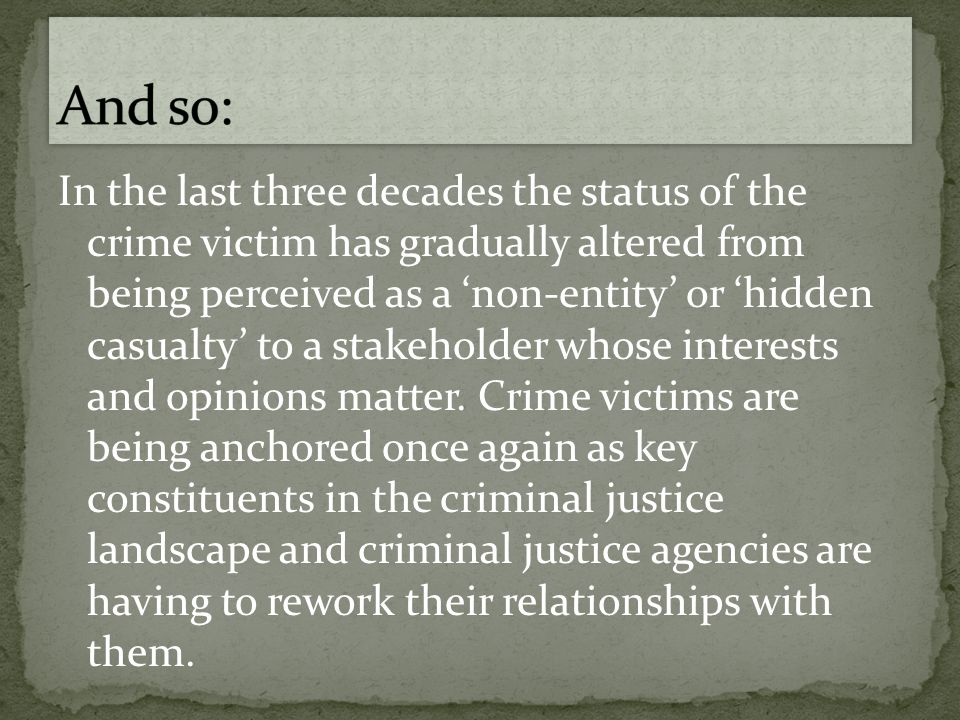 Significantly, there is only one reference to victims with disabilities in the Charter.