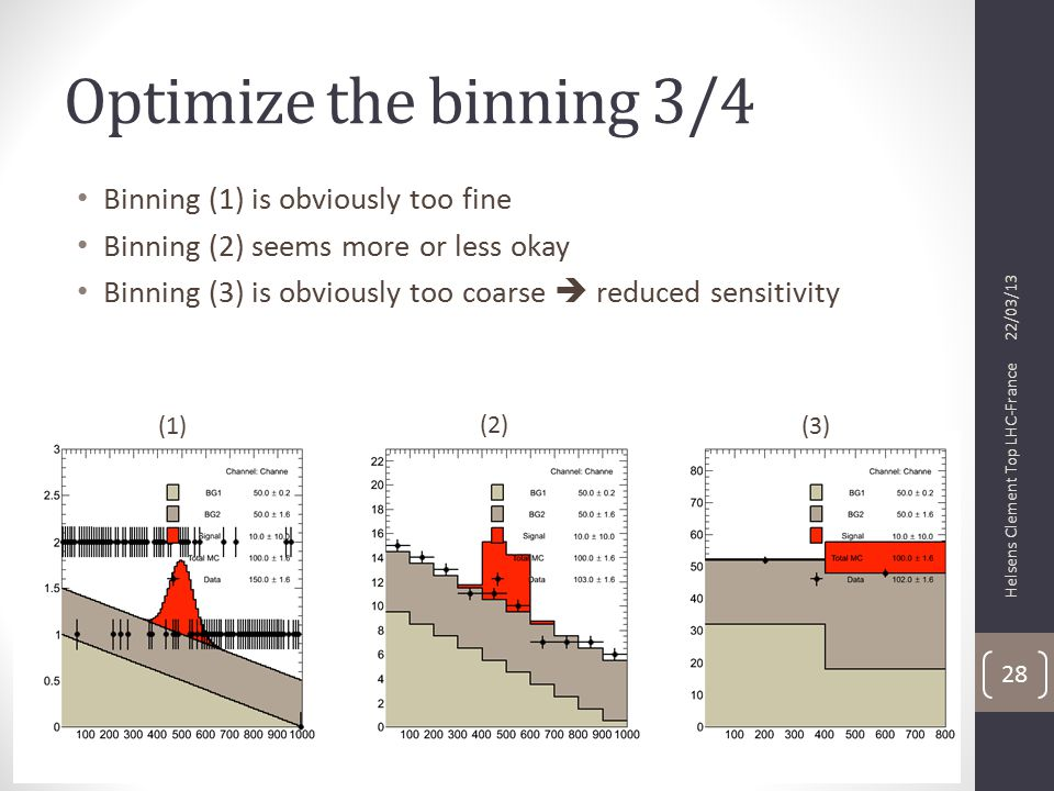 Optimize the binning 3/4 Binning (1) is obviously too fine Binning (2) seems more or less okay Binning (3) is obviously too coarse  reduced sensitivity 22/03/13 Helsens Clement Top LHC-France 28 (1) (2) (3)