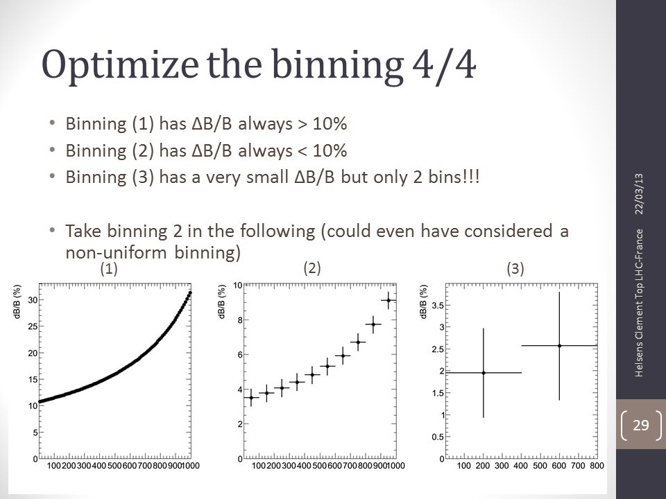 Optimize the binning 4/4 Binning (1) has ΔB/B always > 10% Binning (2) has ΔB/B always < 10% Binning (3) has a very small ΔB/B but only 2 bins!!.