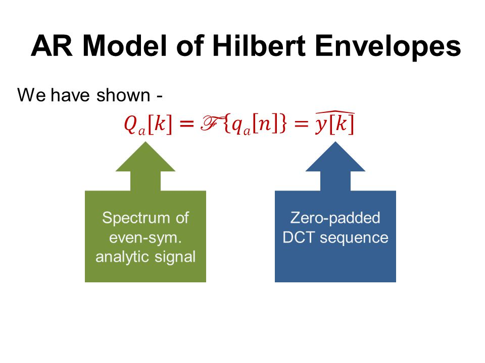 Discrete-time analytic signal AR Model of Hilbert Envelopes Zero-padded DCT