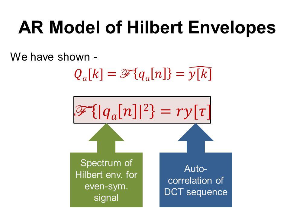 AR Model of Hilbert Envelopes Spectrum of even-sym.