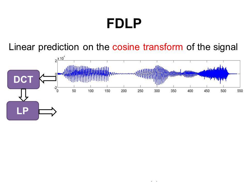 FDLP Linear prediction on the cosine transform of the signal Hilb. Env. FDLP Env. Speech