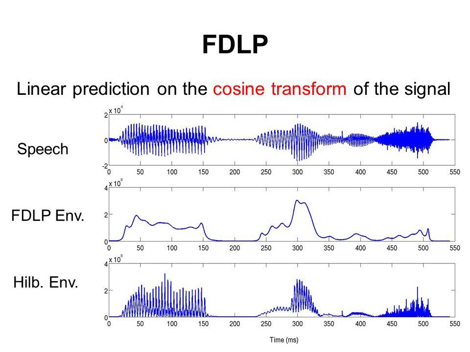 FDLP Linear prediction on the cosine transform of the signal Hilb. Env. DCT LP