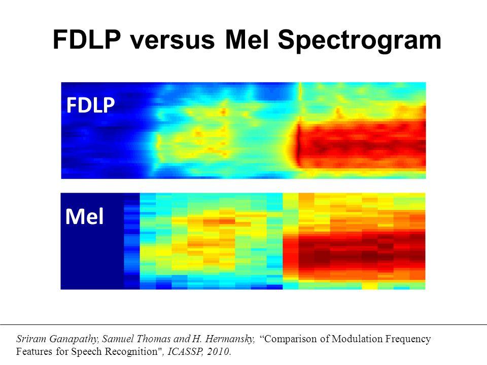 FDLP Spectrogram Conventional Approaches FDLP for Speech Representation Time Freq. Time Freq.