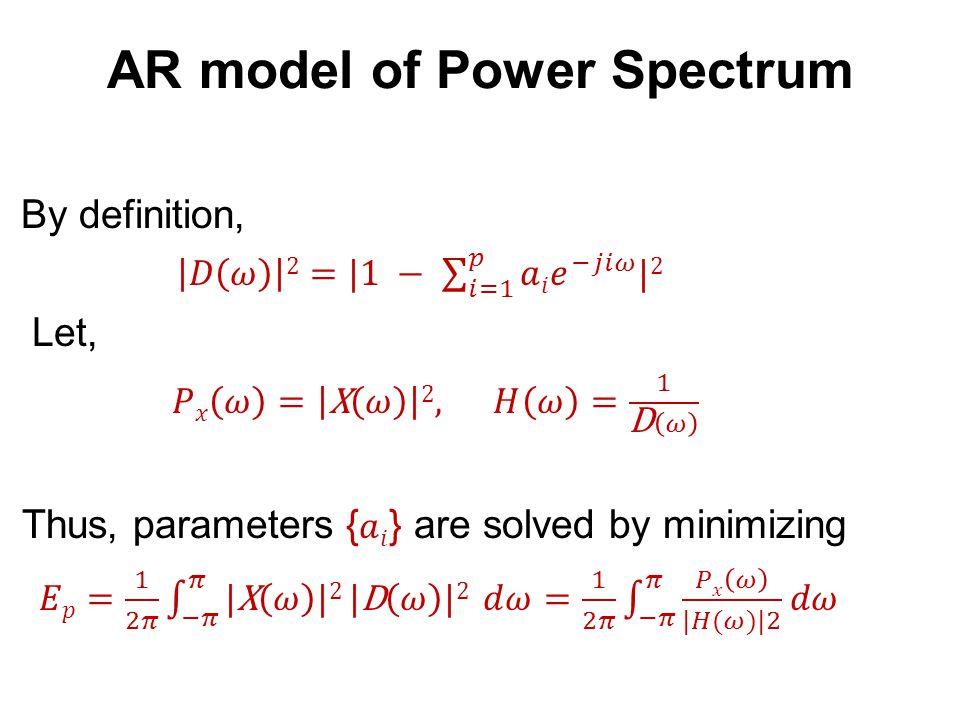 AR model of Power Spectrum