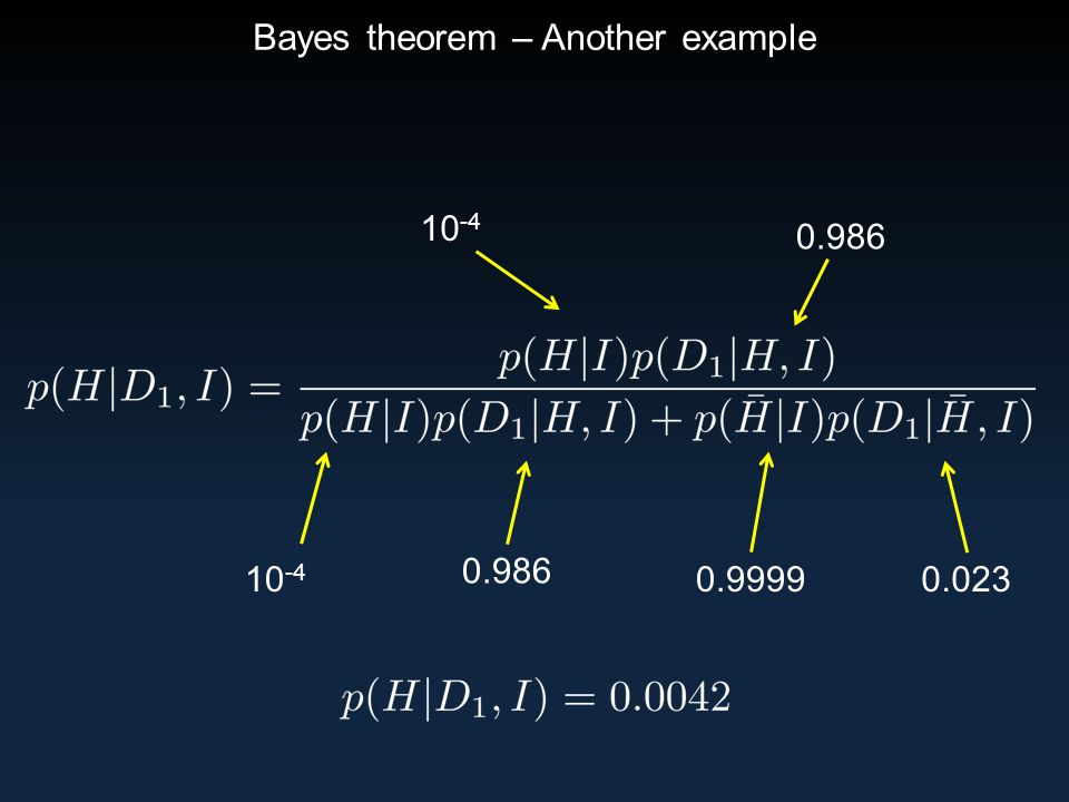 Bayes theorem – Another example 10 -4 0.986 0.02310 -4 0.9999