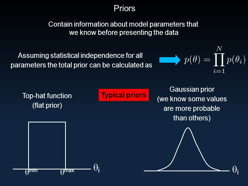 Priors Typical priors Top-hat function (flat prior) ii  max  min Gaussian prior (we know some values are more probable than others) ii Assuming statistical independence for all parameters the total prior can be calculated as Contain information about model parameters that we know before presenting the data