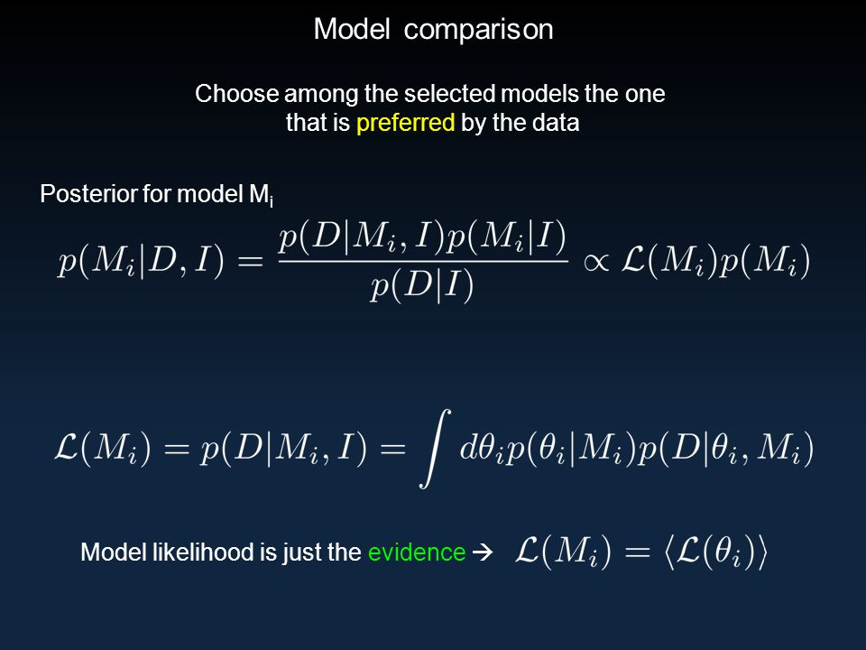 Model comparison Choose among the selected models the one that is preferred by the data Posterior for model M i Model likelihood is just the evidence 