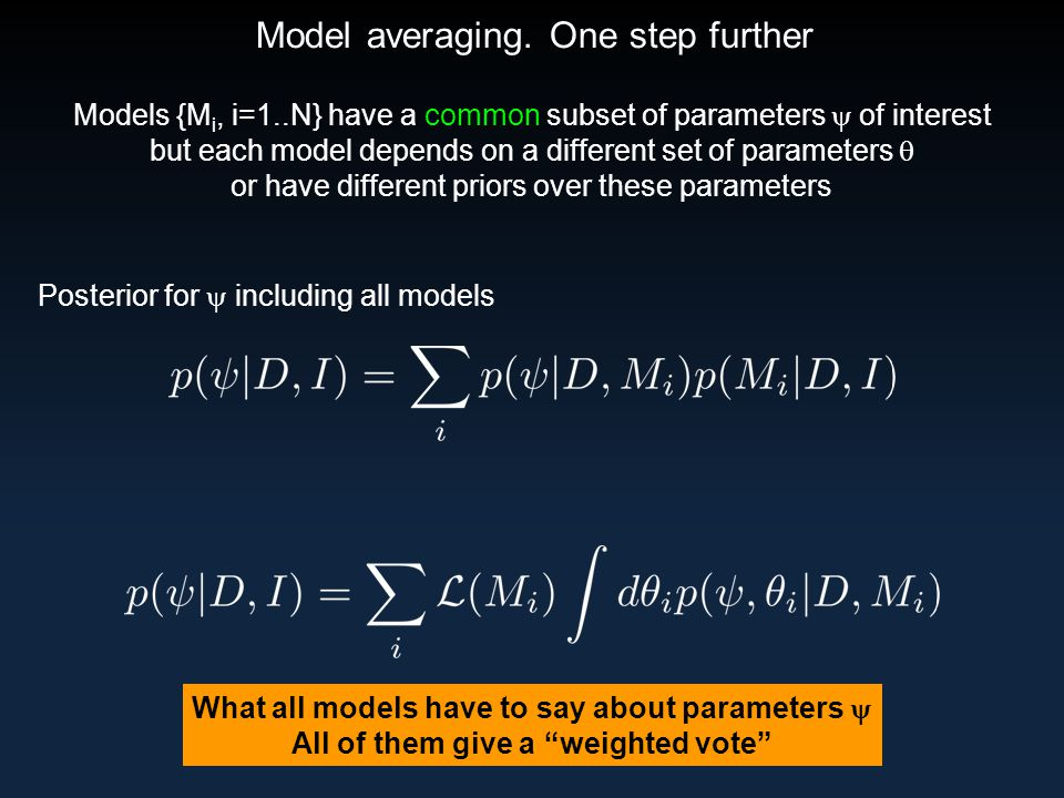 Model averaging. One step further Models {M i, i=1..N} have a common subset of parameters  of interest but each model depends on a different set of p