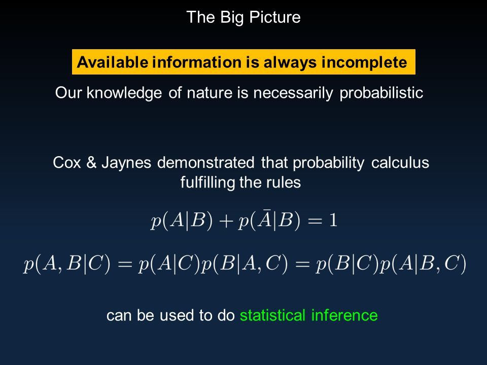 The Big Picture Available information is always incomplete Our knowledge of nature is necessarily probabilistic Cox & Jaynes demonstrated that probability calculus fulfilling the rules can be used to do statistical inference