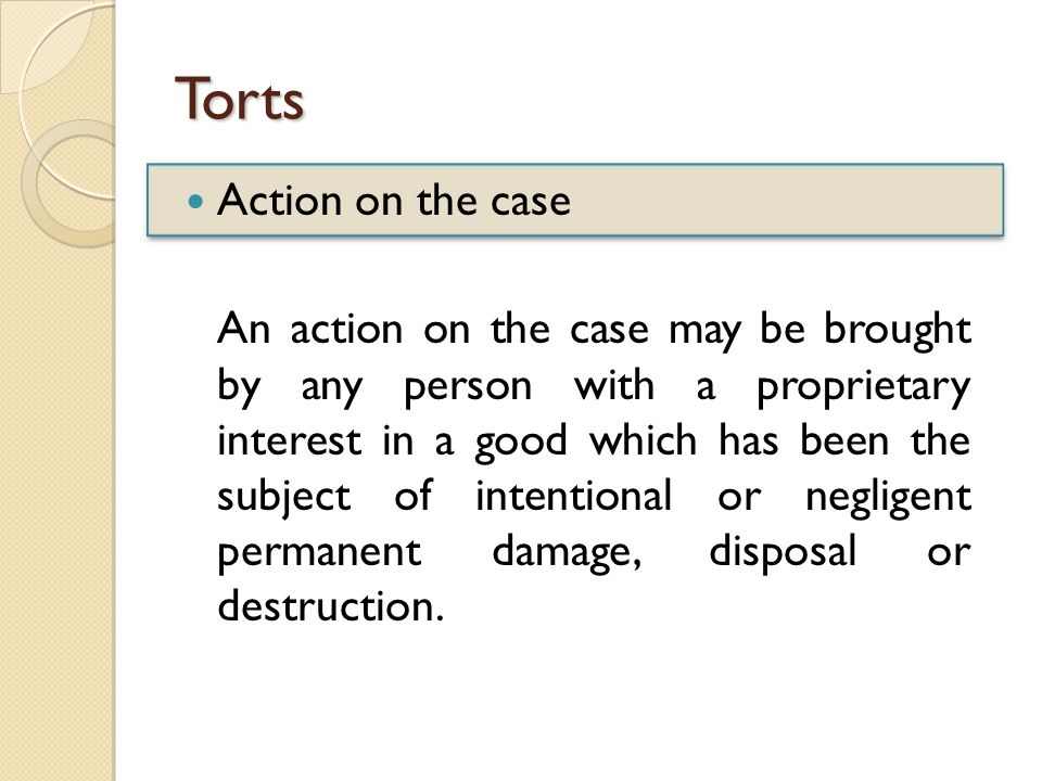 Torts Action on the case An action on the case may be brought by any person with a proprietary interest in a good which has been the subject of intentional or negligent permanent damage, disposal or destruction.