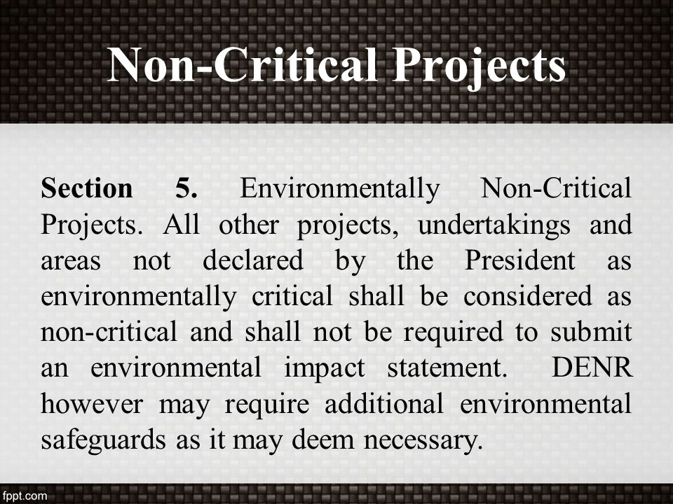 Non-Critical Projects Section 5. Environmentally Non-Critical Projects. All other projects, undertakings and areas not declared by the President as en
