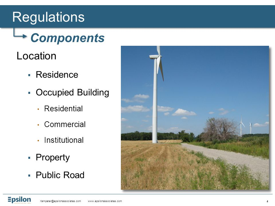 rlampeter@epsilonassociates.com www.epsilonassociates.com 15 Ashburnham – Zoning Bylaw - May 2009 Wind facilities shall be sited in a manner that minimizes shadowing or flicker impacts.