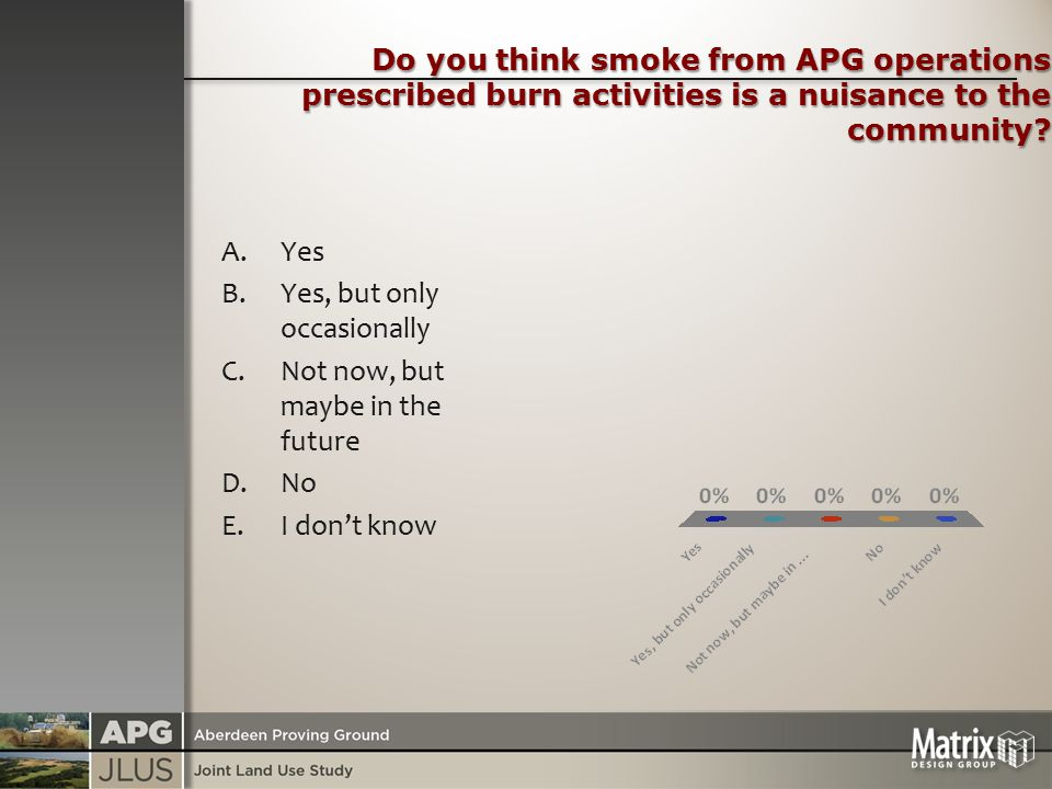 Do you think smoke from APG operations prescribed burn activities is a nuisance to the community.