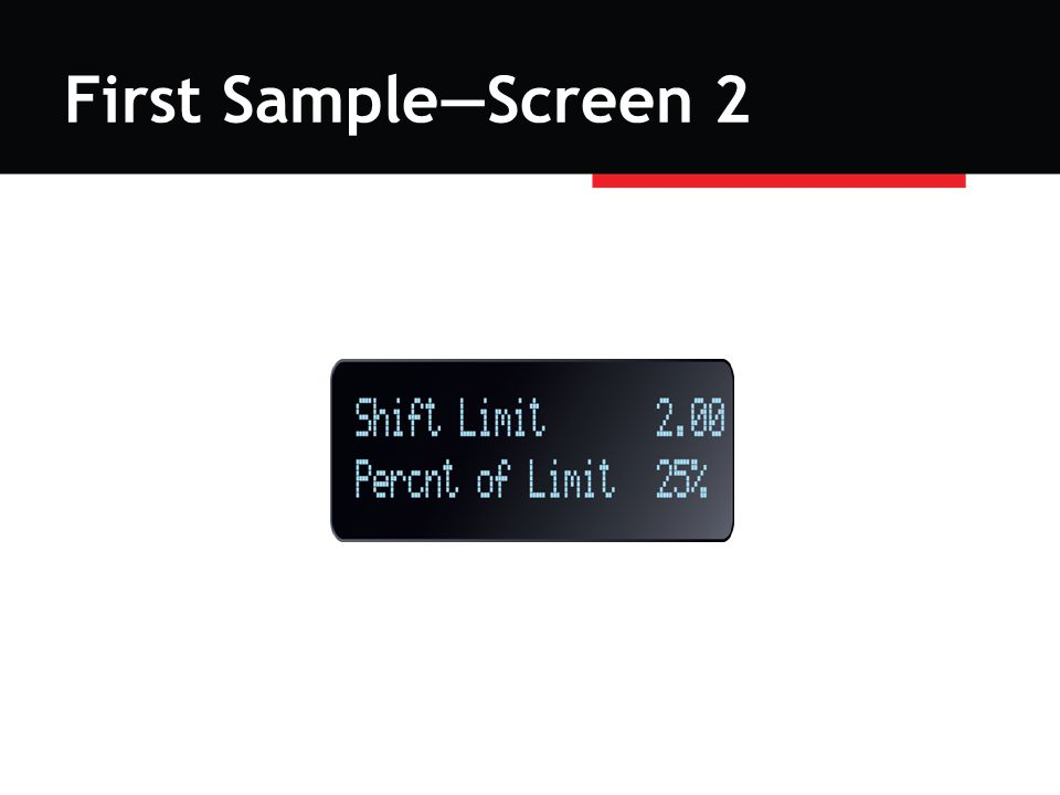 First Sample—Screen 2