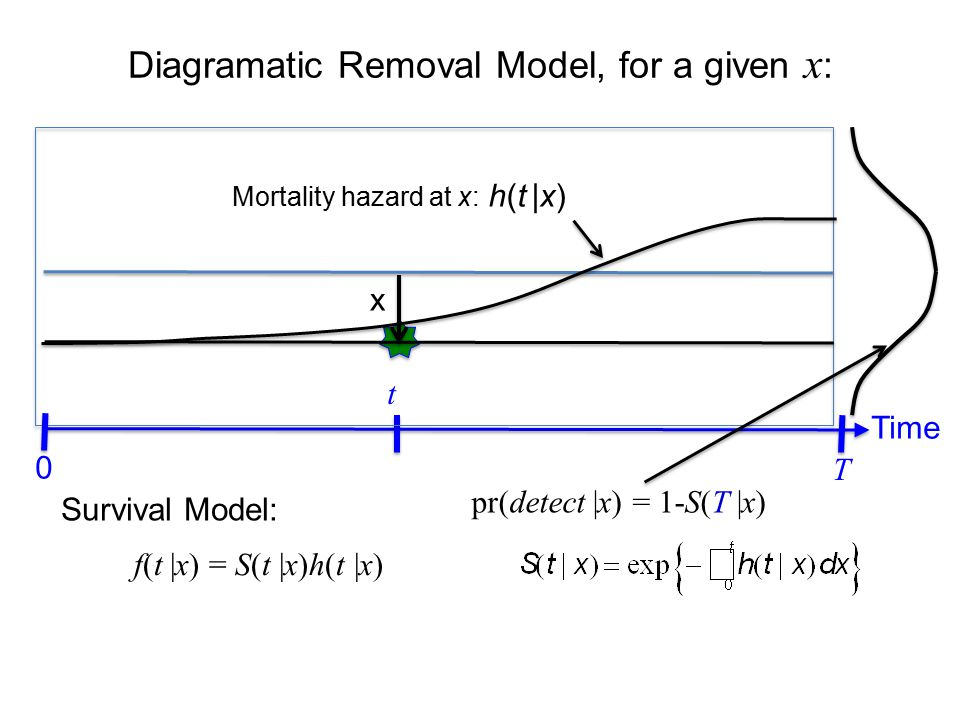 Diagramatic Removal Model, for a given x : Time t 0 x T pr(detect |x) = 1-S(T |x) Detection hazard at x: h(t |x) p(x) Line Transect models are survival models with unknown number of censored subjects, and individual random effects.