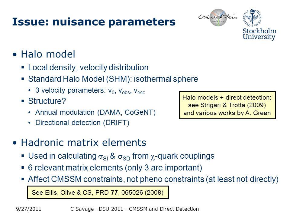 Issue: nuisance parameters Halo model  Local density, velocity distribution  Standard Halo Model (SHM): isothermal sphere 3 velocity parameters: v 0, v obs, v esc  Structure.