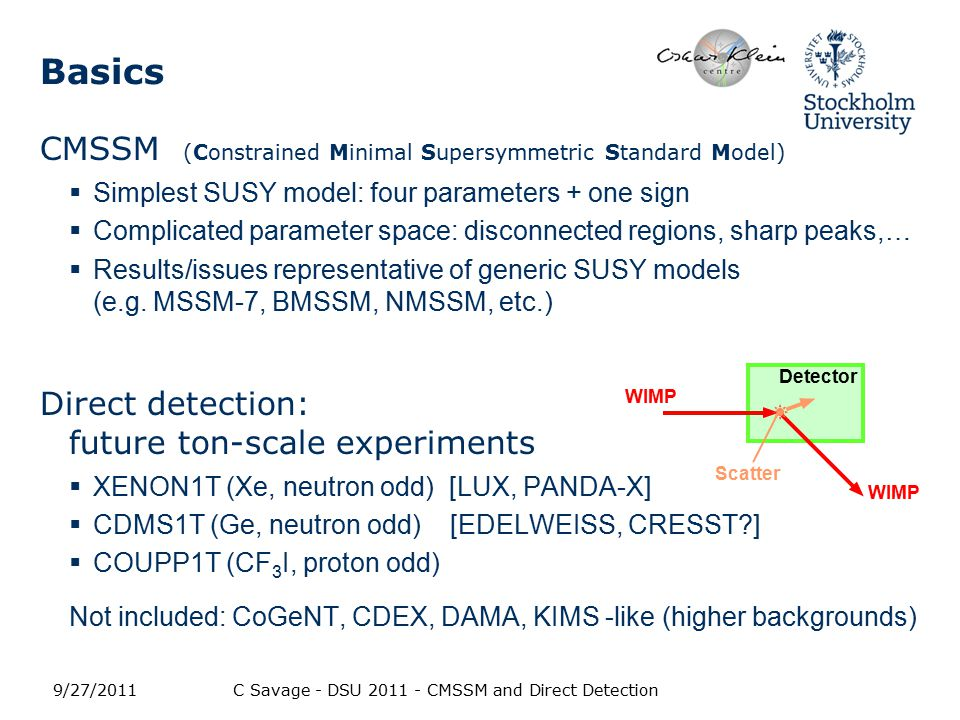 Basics CMSSM (Constrained Minimal Supersymmetric Standard Model)  Simplest SUSY model: four parameters + one sign  Complicated parameter space: disconnected regions, sharp peaks,…  Results/issues representative of generic SUSY models (e.g.