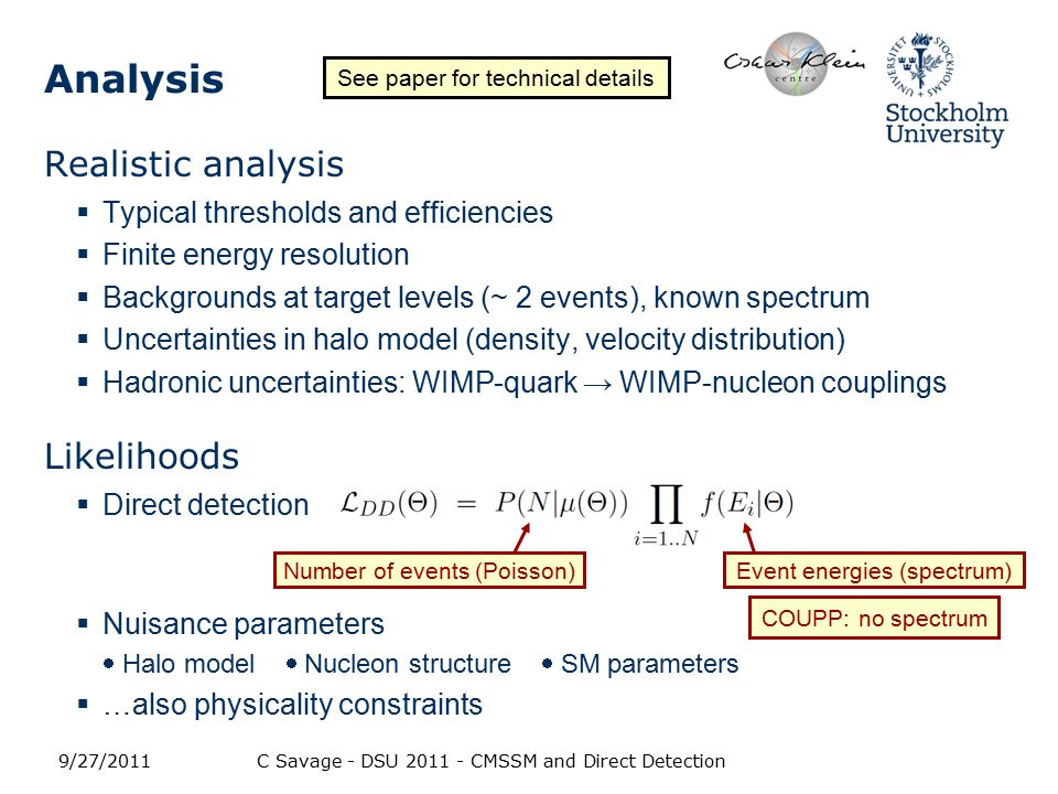 CMSSM constraints Can combine with other observational data:  Indirect detection: cosmic-rays, neutrinos  Accelerators  Relic density, etc.
