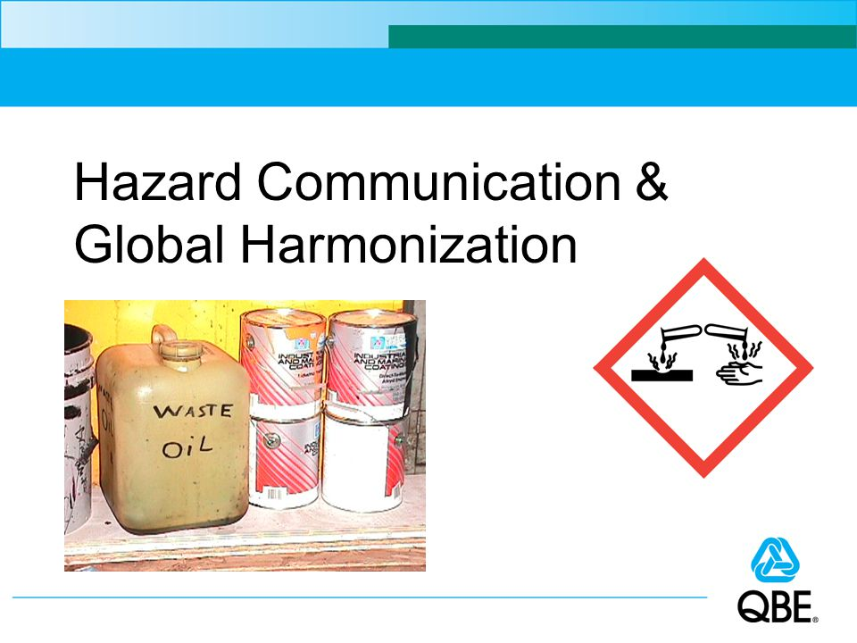 Labels and Warnings Each chemical container must be labeled, tagged or marked with identity of the chemical and its hazards Labels must be in English and prominent 12