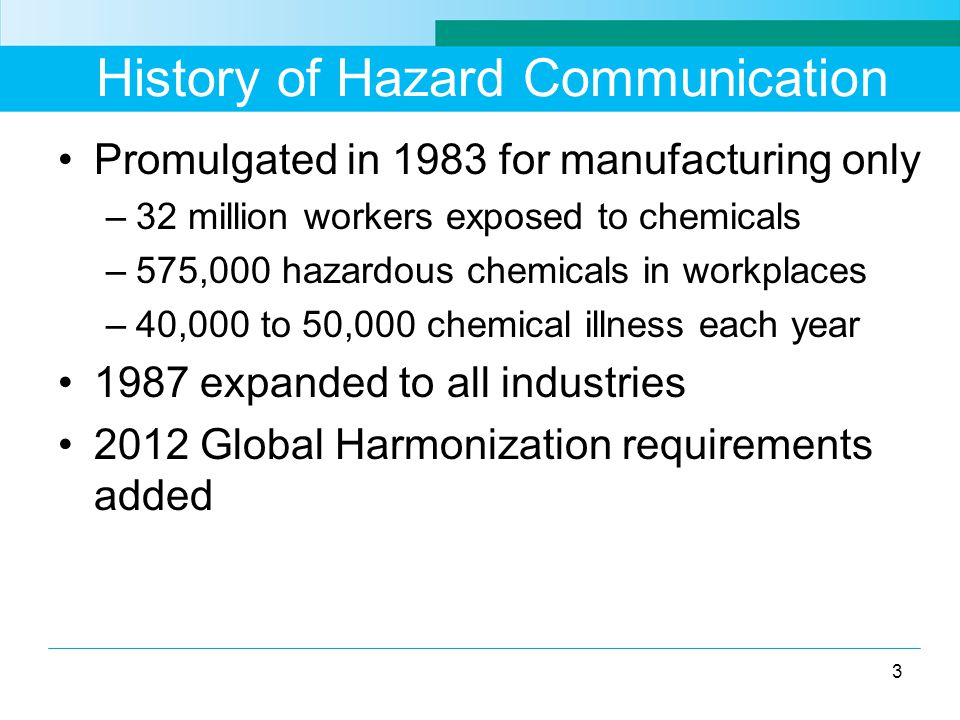 Chemical Inventory Include all hazardous substances as well as potentially hazardous materials Consider all physical forms of chemicals- liquids, solids, gases, vapors, fumes, and mists Identify chemicals in containers including pipes Include chemicals generated by processes such as welding fumes, dusts, and exhaust fumes