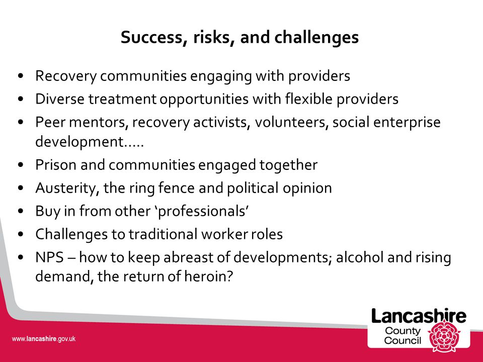 Success, risks, and challenges Recovery communities engaging with providers Diverse treatment opportunities with flexible providers Peer mentors, recovery activists, volunteers, social enterprise development…..