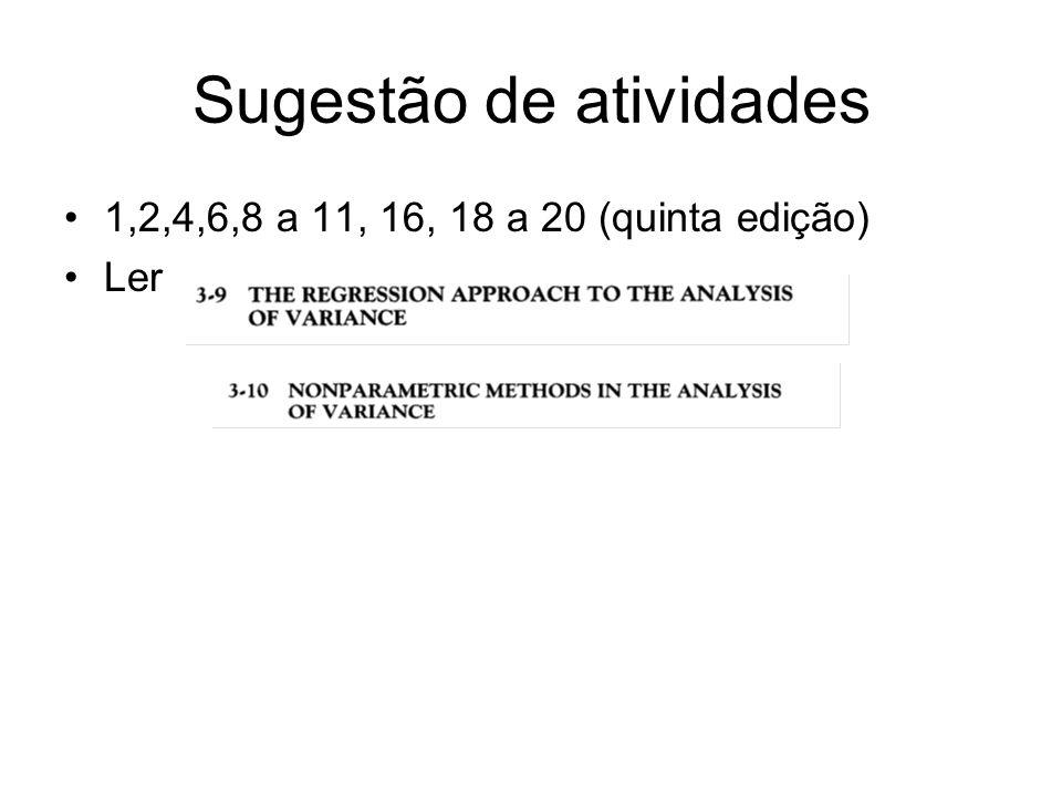 Sugestão de atividades 1,2,4,6,8 a 11, 16, 18 a 20 (quinta edição) Ler
