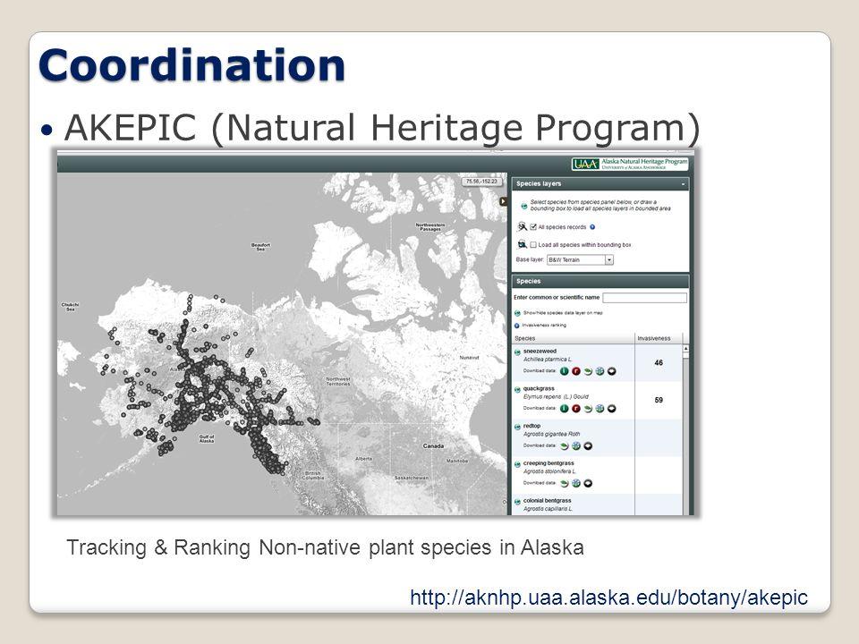 Coordination AKEPIC (Natural Heritage Program) Tracking & Ranking Non-native plant species in Alaska http://aknhp.uaa.alaska.edu/botany/akepic