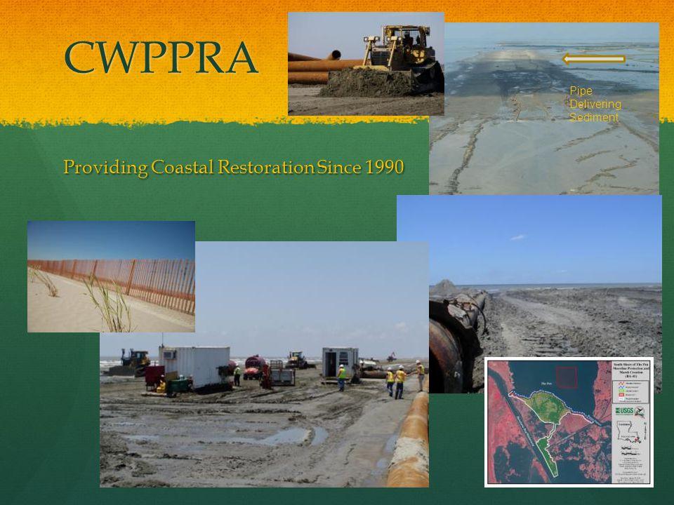 CWPPRA Providing Coastal Restoration Since 1990 Pipe Delivering Sediment