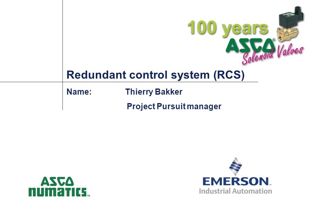 RCS Concept ASCO'S RCS package consolidates many of the components using known technology to create a more complete package with unique features to meet today s needs…