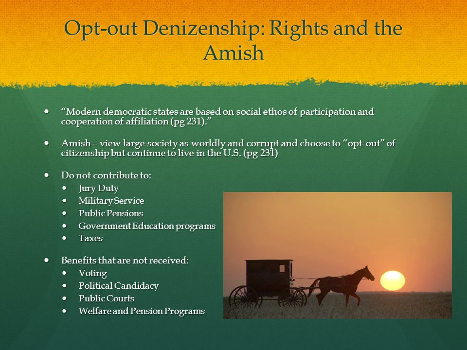 Opt-out Denizenship: Rights and the Amish Modern democratic states are based on social ethos of participation and cooperation of affiliation (pg 231). Modern democratic states are based on social ethos of participation and cooperation of affiliation (pg 231). Amish – view large society as worldly and corrupt and choose to opt-out of citizenship but continue to live in the U.S.