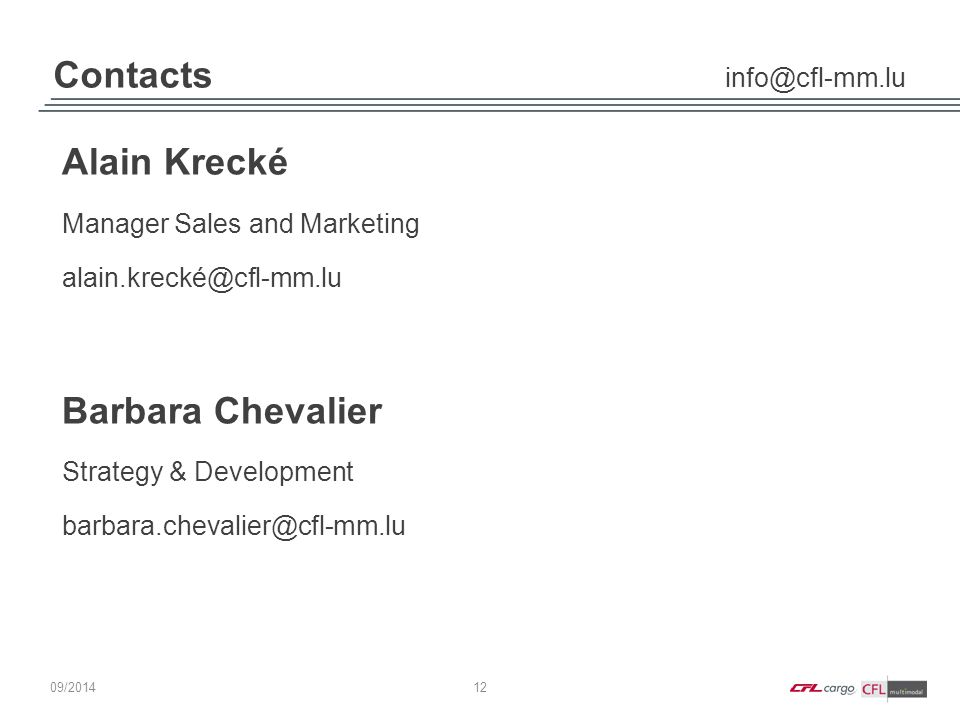 Contacts info@cfl-mm.lu 12 09/ 2014 Alain Krecké Manager Sales and Marketing alain.krecké@cfl-mm.lu Barbara Chevalier Strategy & Development barbara.c