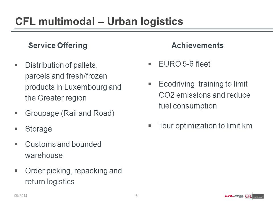 CFL multimodal – Urban logistics 6 09/ 2014  Distribution of pallets, parcels and fresh/frozen products in Luxembourg and the Greater region  Groupa