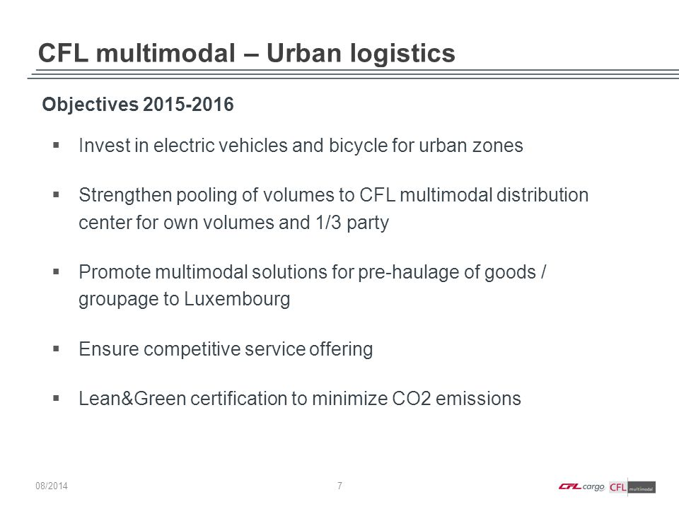 CFL multimodal – Urban logistics Objectives 2015-2016  Invest in electric vehicles and bicycle for urban zones  Strengthen pooling of volumes to CFL