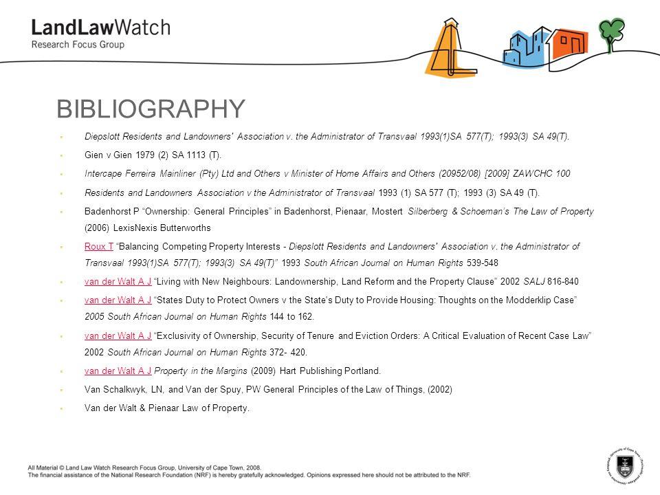 BIBLIOGRAPHY  Diepslott Residents and Landowners Association v.