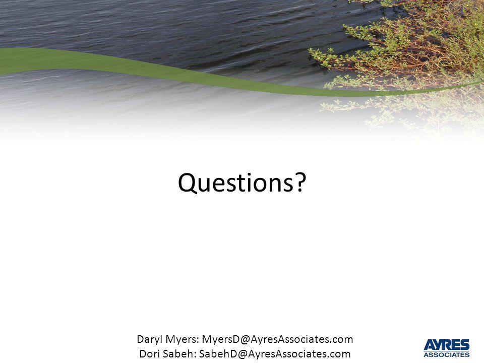 Questions Daryl Myers: MyersD@AyresAssociates.com Dori Sabeh: SabehD@AyresAssociates.com